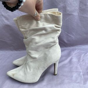 Cream colored scrunch booties